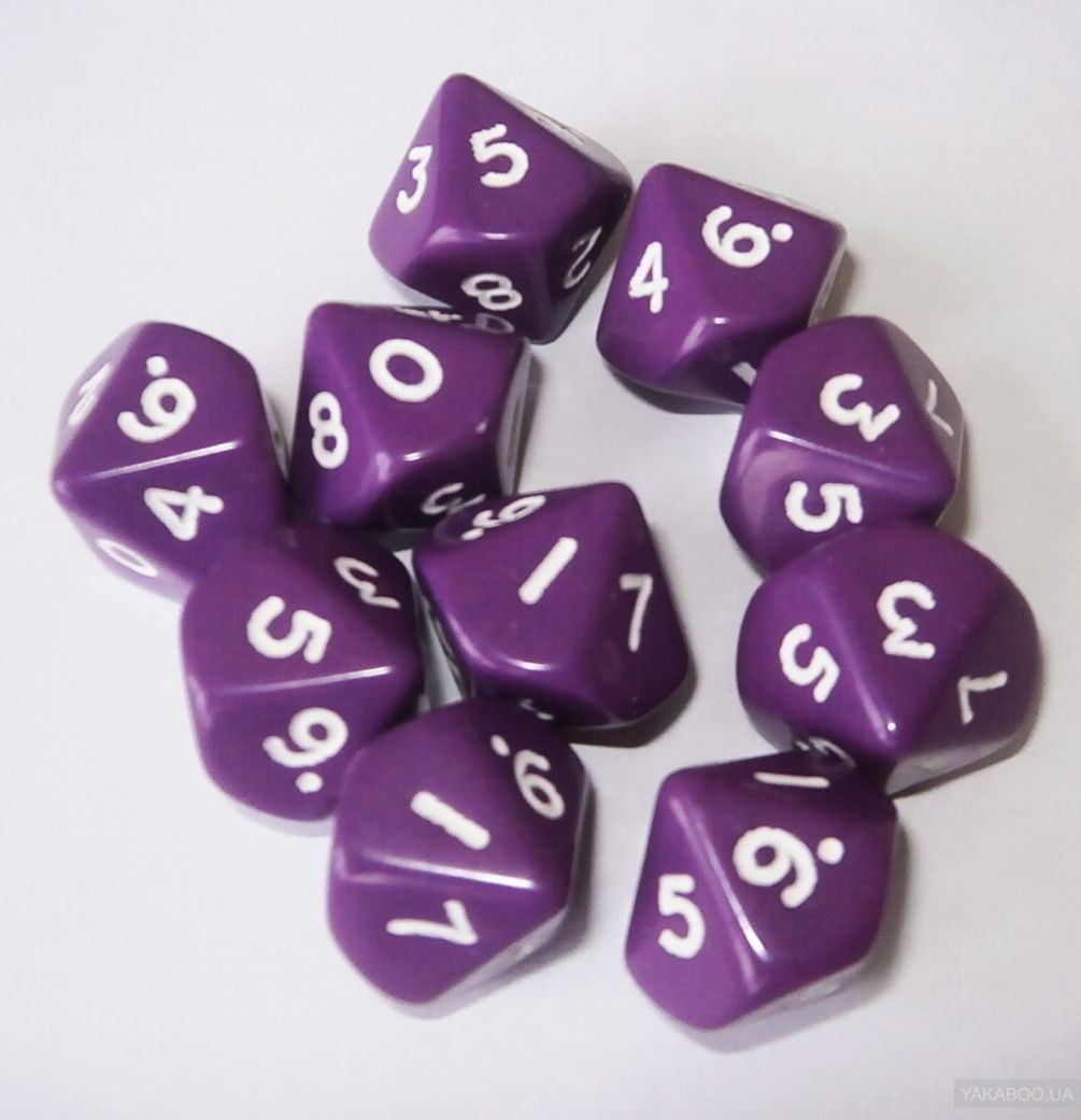 Numbers 0-9. Pack of 10 Dice