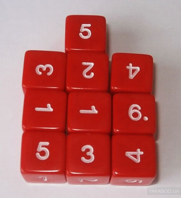 Numbers 1-6. Pack of 10 Dice