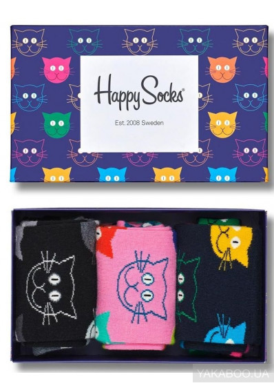 Фото - Носки Happy Socks Cats 3-Pack Gift Box 3 пары 36-40 р (SXMJA08-0100)