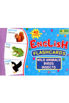 English flashcards. Wild animals, birds, insects